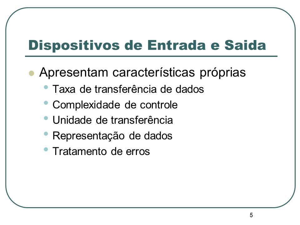 5 Dispositivos de Entrada e Saida Apresentam características próprias Taxa de transferência de dados Complexidade de controle Unidade de transferência