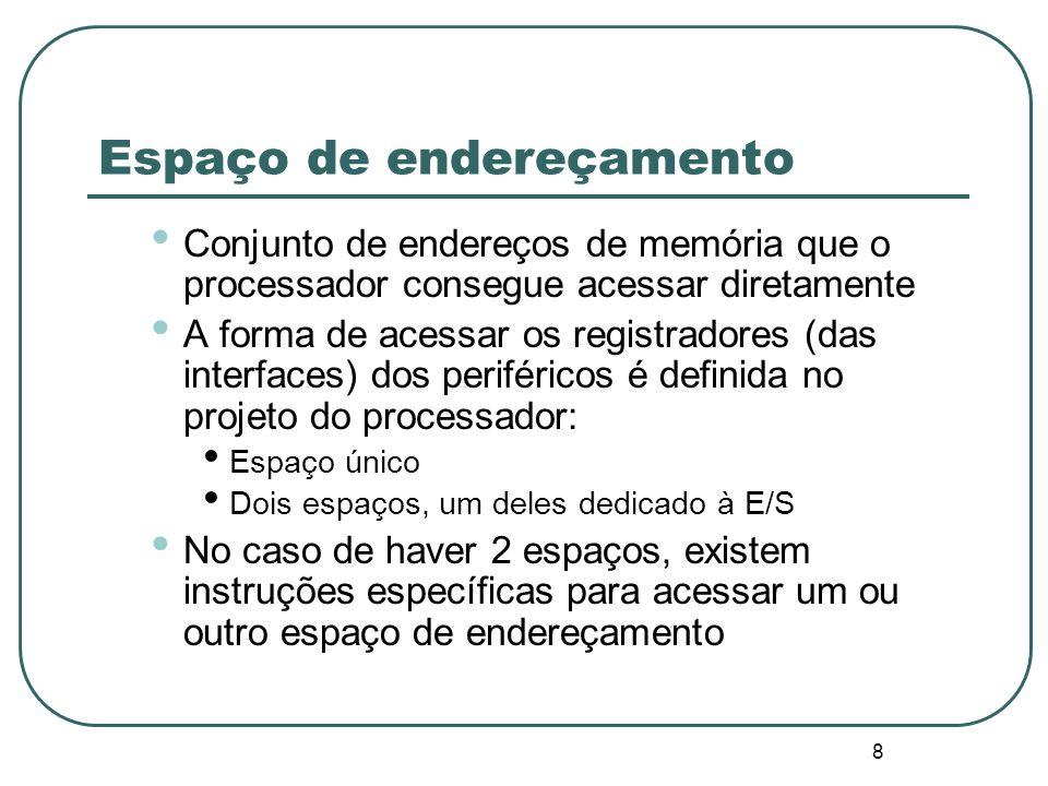 8 Espaço de endereçamento Conjunto de endereços de memória que o processador consegue acessar diretamente A forma de acessar os registradores (das int