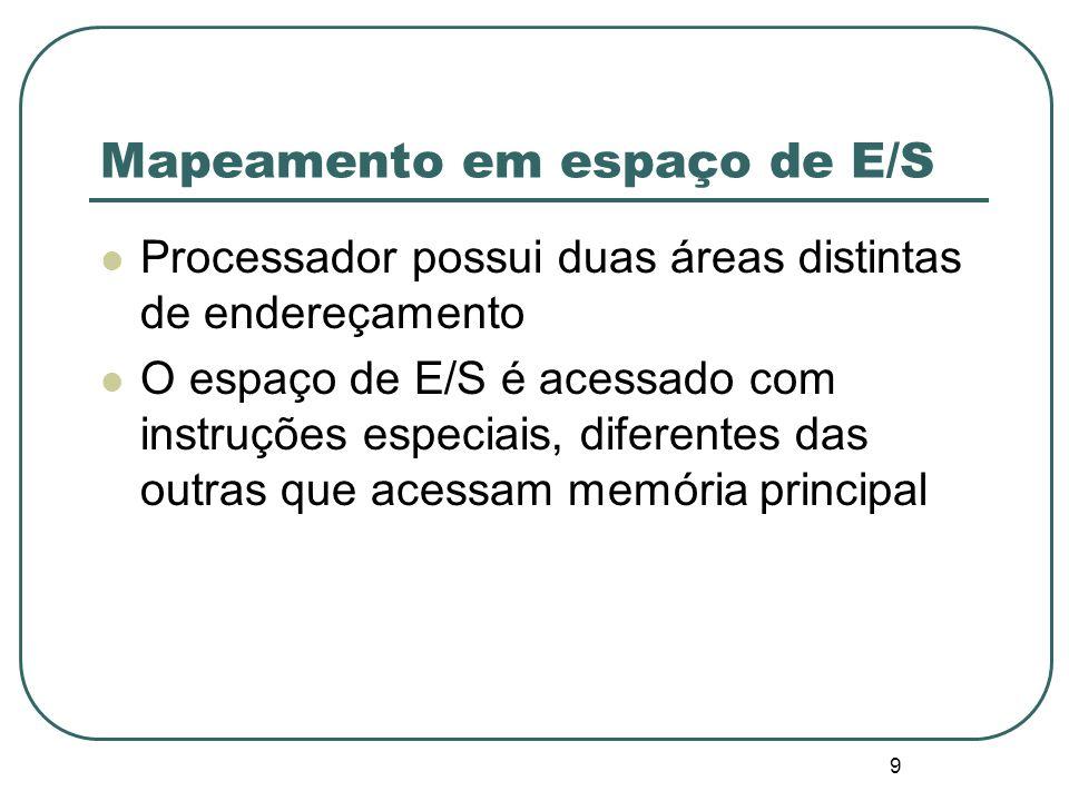 9 Mapeamento em espaço de E/S Processador possui duas áreas distintas de endereçamento O espaço de E/S é acessado com instruções especiais, diferentes