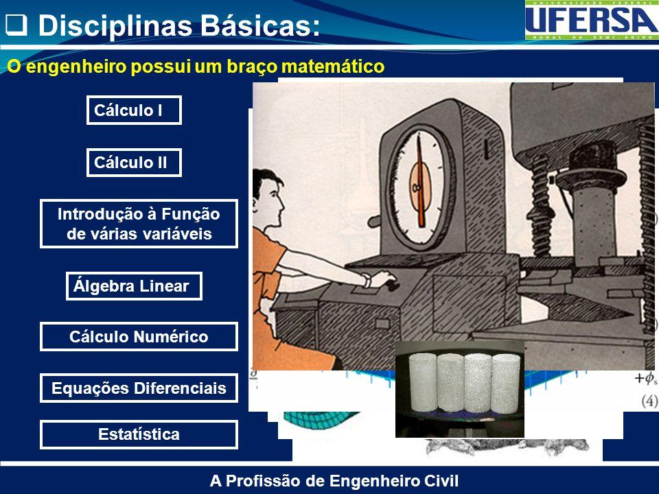 Disciplinas Básicas: A Profissão de Engenheiro Civil Cálculo I Cálculo II Álgebra Linear Introdução à Função de várias variáveis Estatística Cálculo N