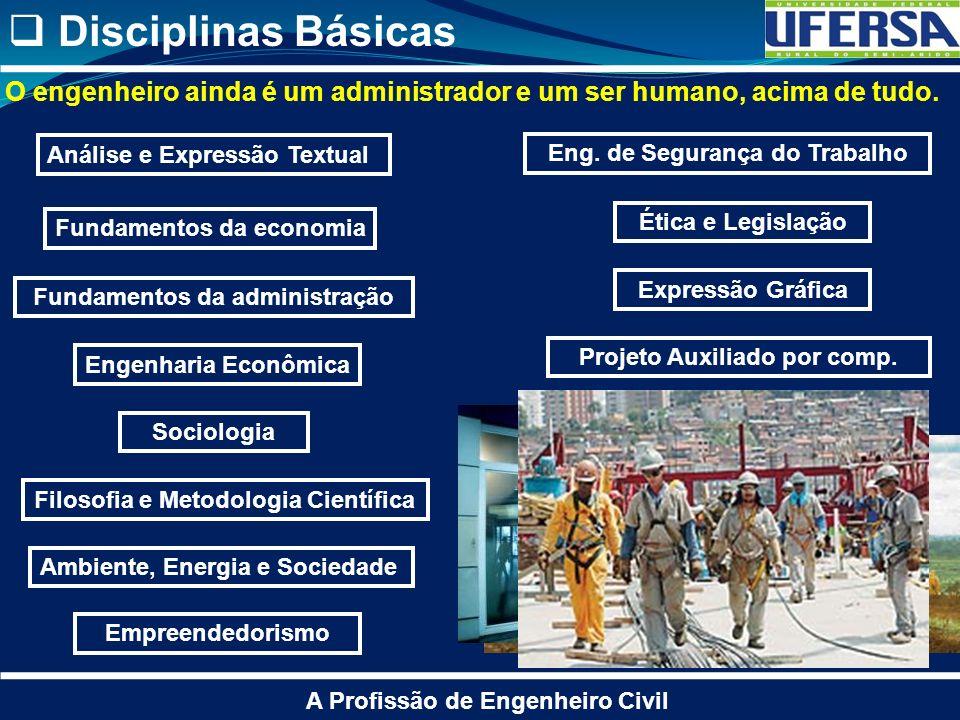Disciplinas Básicas A Profissão de Engenheiro Civil Análise e Expressão Textual Fundamentos da economia Ambiente, Energia e Sociedade Fundamentos da a