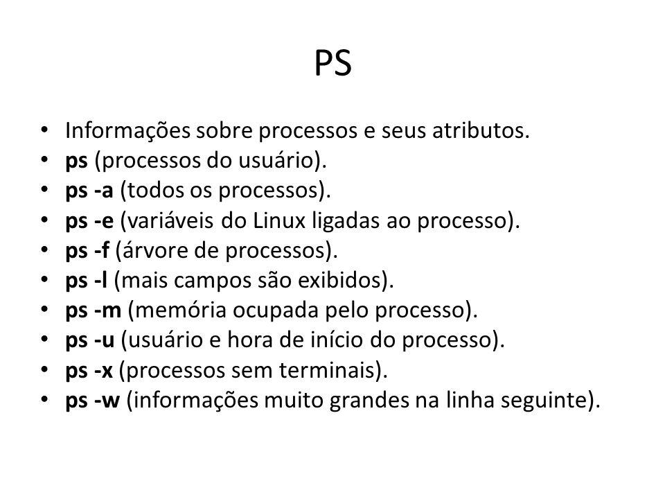PS Informações sobre processos e seus atributos. ps (processos do usuário).