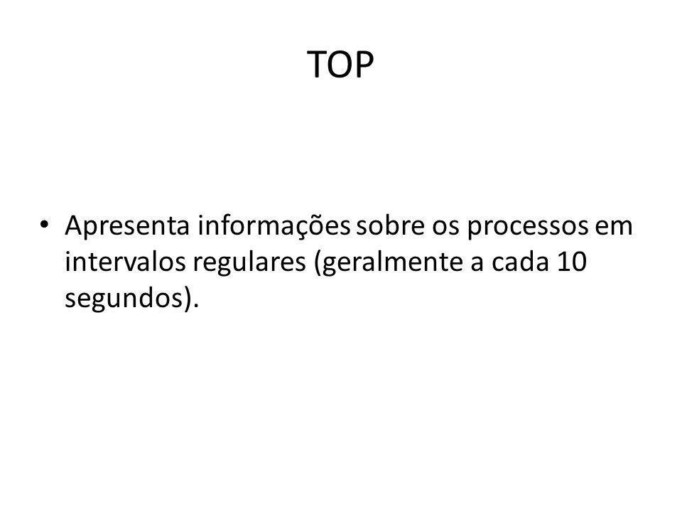 TOP Apresenta informações sobre os processos em intervalos regulares (geralmente a cada 10 segundos).
