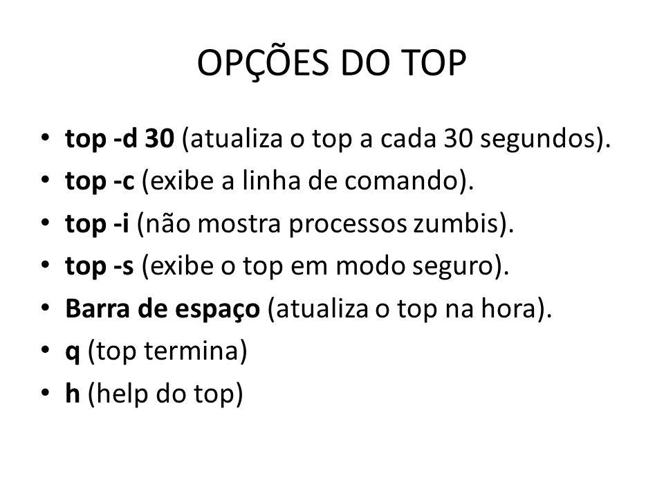 OPÇÕES DO TOP top -d 30 (atualiza o top a cada 30 segundos).