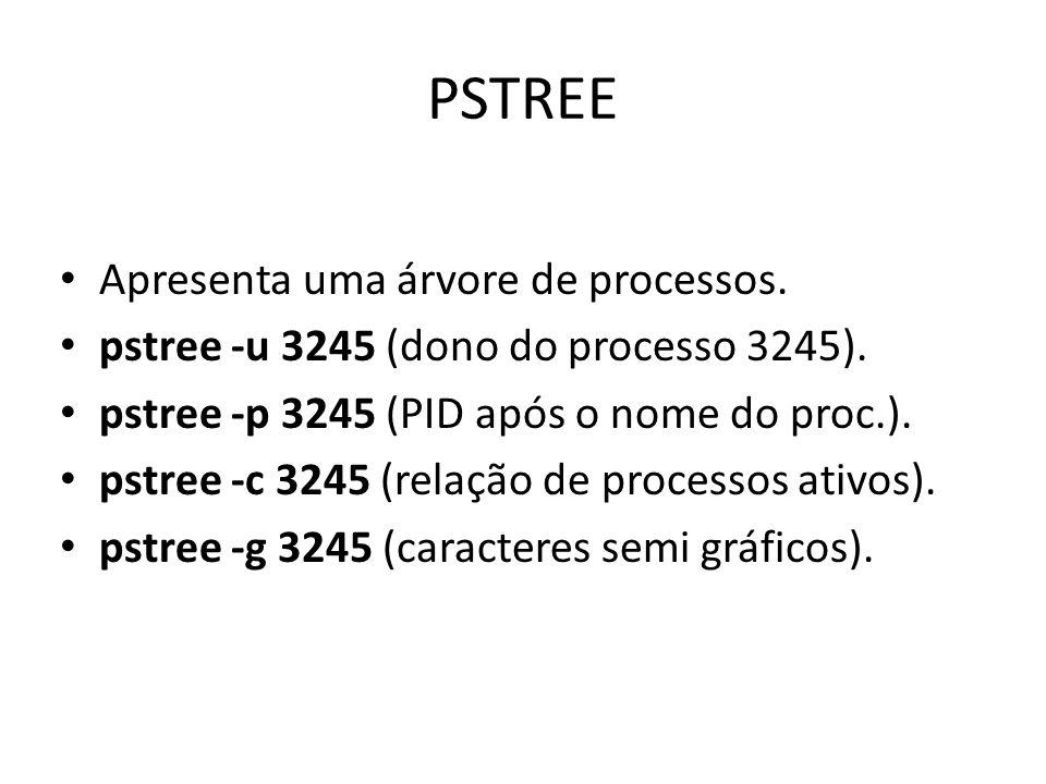PSTREE Apresenta uma árvore de processos. pstree -u 3245 (dono do processo 3245).