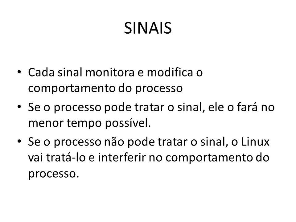 SINAIS Cada sinal monitora e modifica o comportamento do processo Se o processo pode tratar o sinal, ele o fará no menor tempo possível.