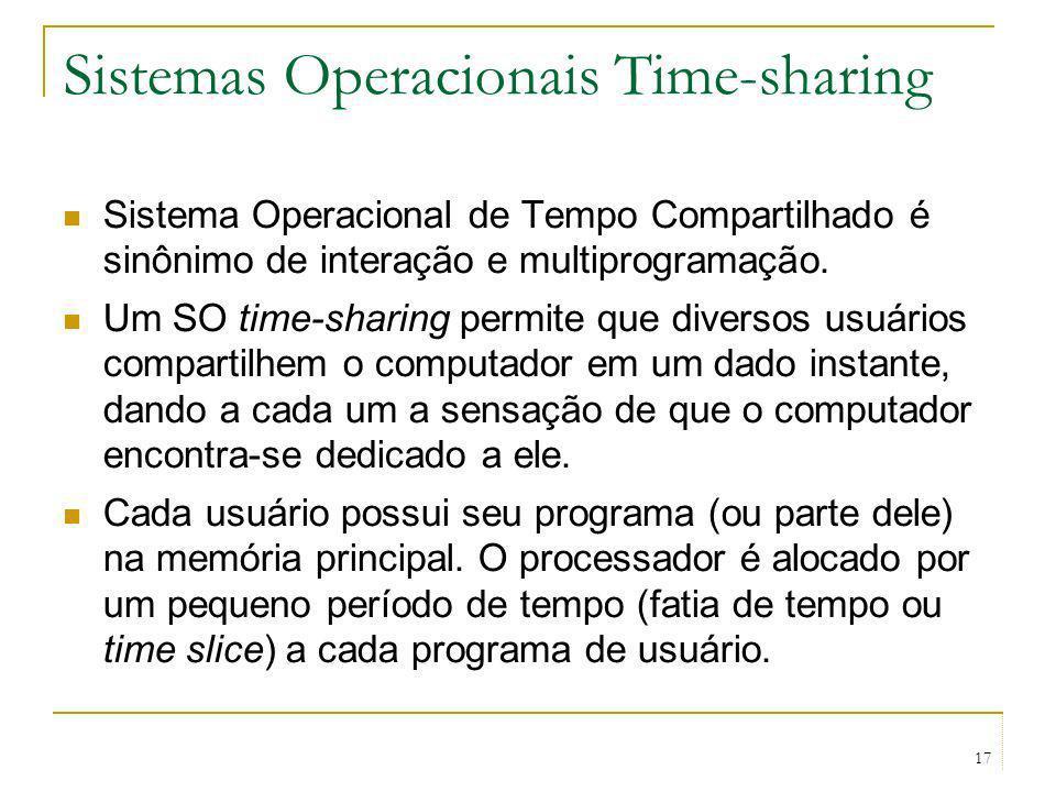 17 Sistemas Operacionais Time-sharing Sistema Operacional de Tempo Compartilhado é sinônimo de interação e multiprogramação. Um SO time-sharing permit