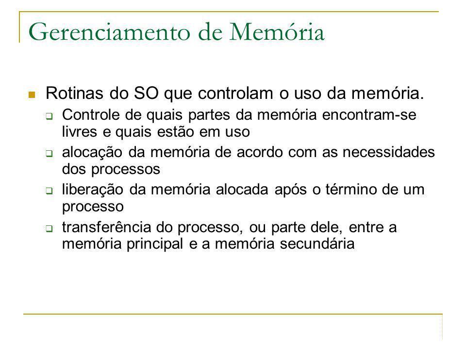 Gerenciamento de Memória Rotinas do SO que controlam o uso da memória. Controle de quais partes da memória encontram-se livres e quais estão em uso al