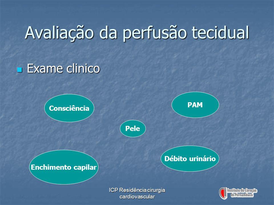 ICP Residência cirurgia cardiovascular Avaliação da perfusão tecidual Exame clinico Exame clinico Consciência Pele Enchimento capilar Débito urinário