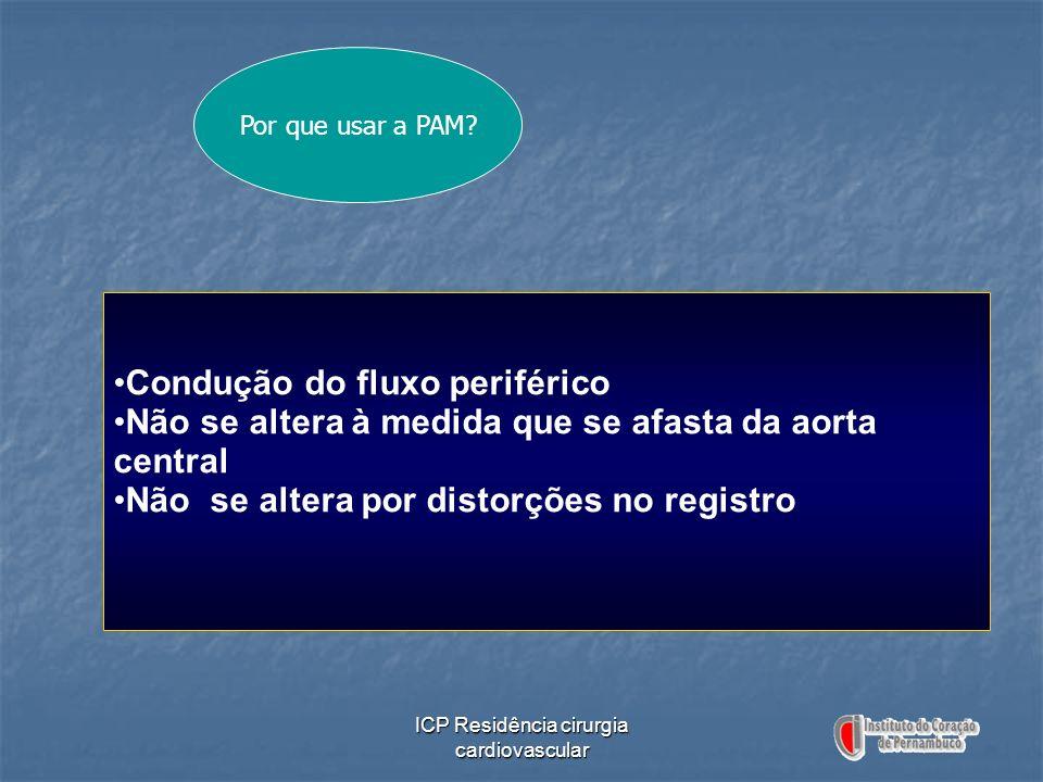 ICP Residência cirurgia cardiovascular Por que usar a PAM? Condução do fluxo periférico Não se altera à medida que se afasta da aorta central Não se a