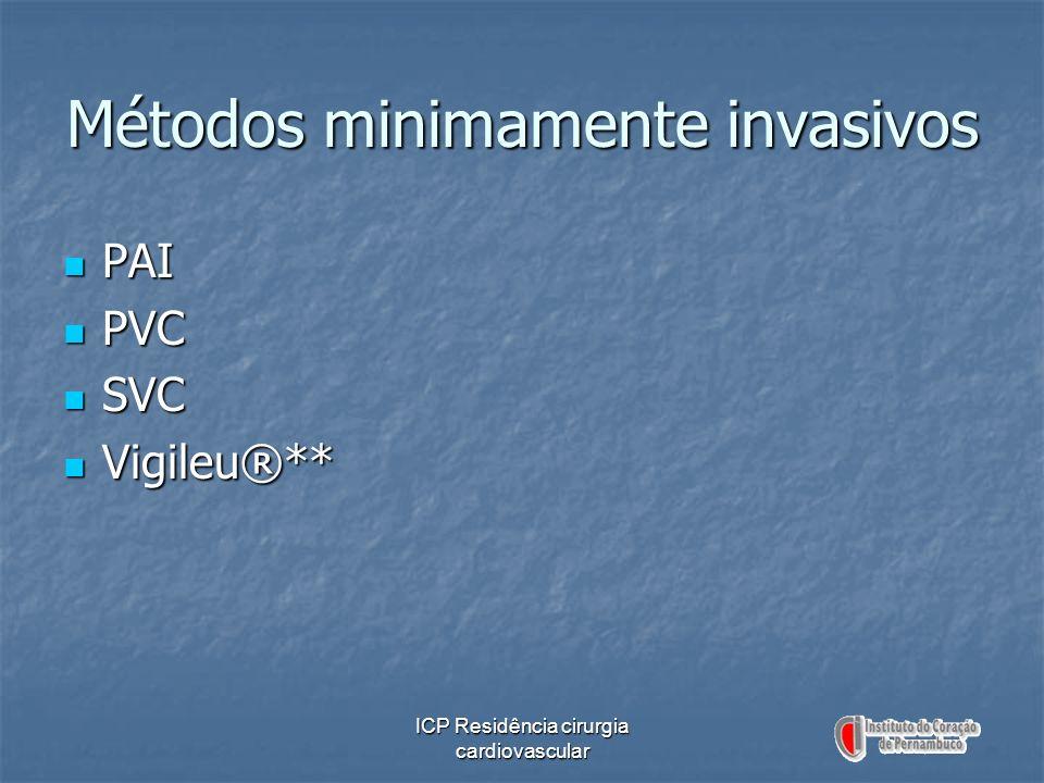 ICP Residência cirurgia cardiovascular Métodos minimamente invasivos PAI PAI PVC PVC SVC SVC Vigileu®** Vigileu®**