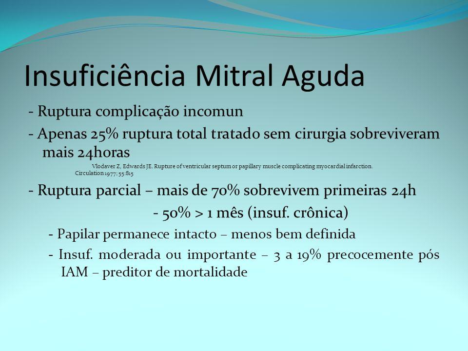 Insuficiência Mitral Aguda - Ruptura complicação incomun - Apenas 25% ruptura total tratado sem cirurgia sobreviveram mais 24horas Vlodaver Z, Edwards