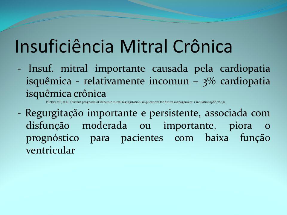Insuficiência Mitral Crônica - Insuf. mitral importante causada pela cardiopatia isquêmica - relativamente incomun – 3% cardiopatia isquêmica crônica