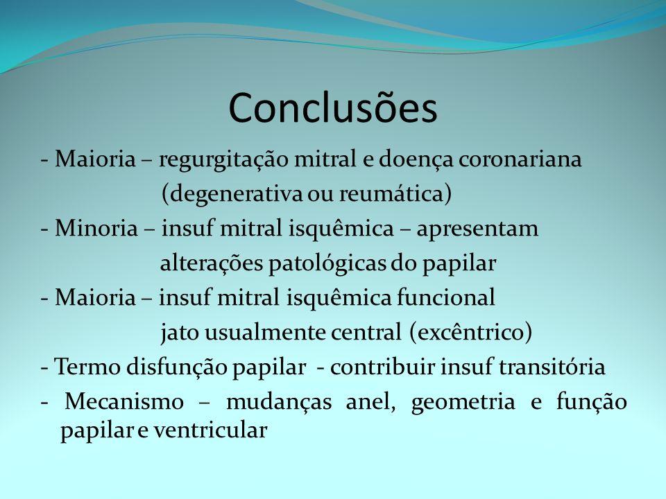 Conclusões - Maioria – regurgitação mitral e doença coronariana (degenerativa ou reumática) - Minoria – insuf mitral isquêmica – apresentam alterações