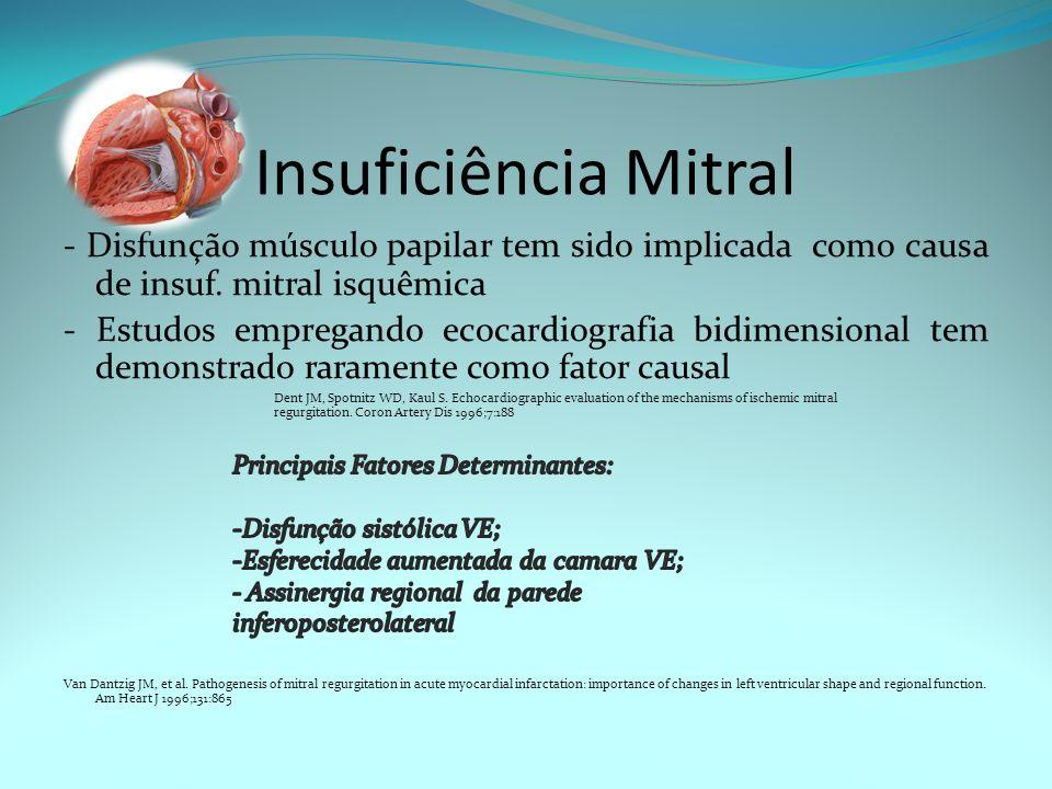 Insuficiência Mitral - Disfunção músculo papilar tem sido implicada como causa de insuf. mitral isquêmica - Estudos empregando ecocardiografia bidimen