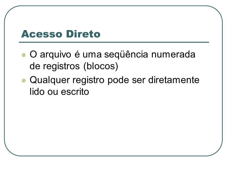 Acesso Direto O arquivo é uma seqüência numerada de registros (blocos) Qualquer registro pode ser diretamente lido ou escrito