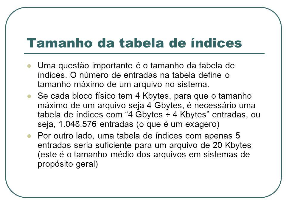 Tamanho da tabela de índices Uma questão importante é o tamanho da tabela de índices. O número de entradas na tabela define o tamanho máximo de um arq