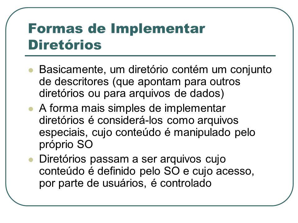 Formas de Implementar Diretórios Basicamente, um diretório contém um conjunto de descritores (que apontam para outros diretórios ou para arquivos de d
