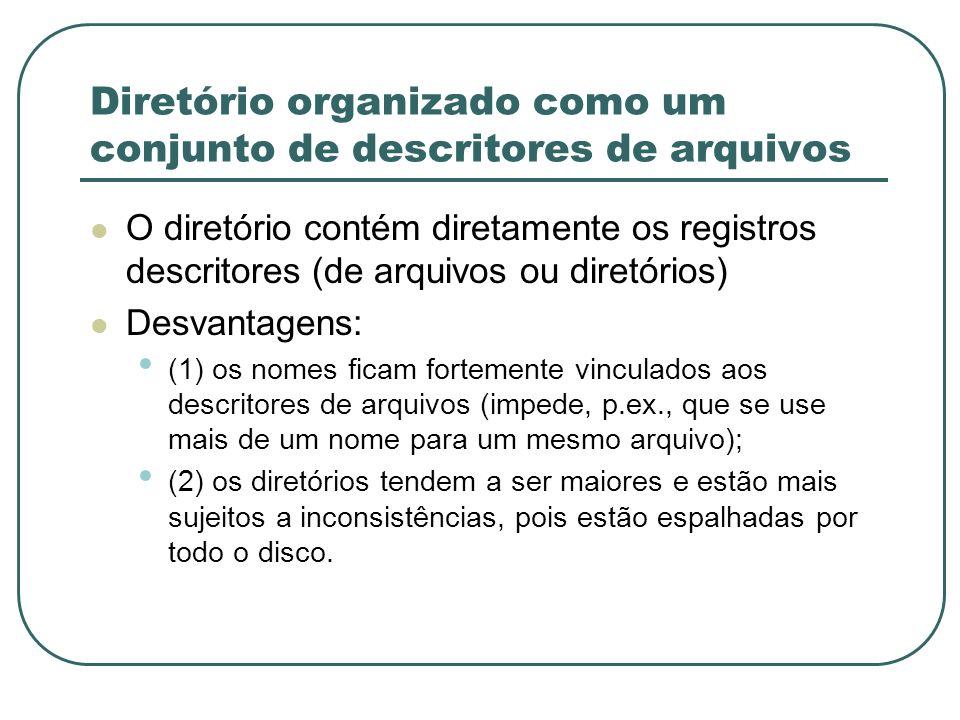 Diretório organizado como um conjunto de descritores de arquivos O diretório contém diretamente os registros descritores (de arquivos ou diretórios) D
