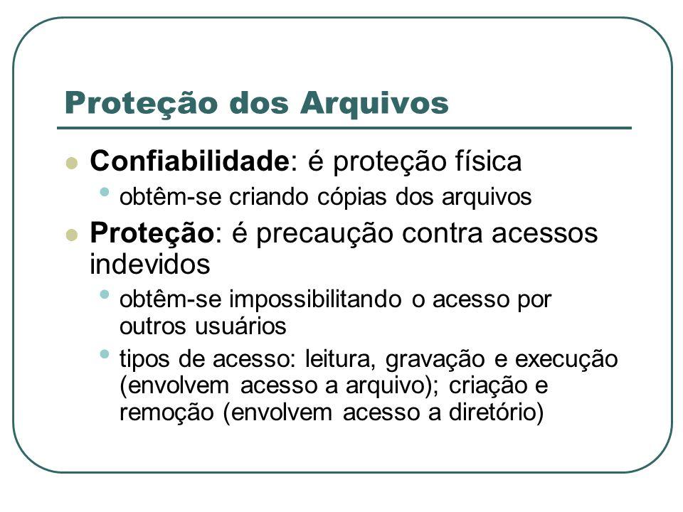 Proteção dos Arquivos Confiabilidade: é proteção física obtêm-se criando cópias dos arquivos Proteção: é precaução contra acessos indevidos obtêm-se i