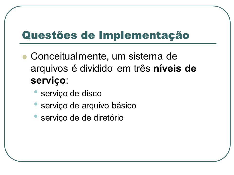 Questões de Implementação Conceitualmente, um sistema de arquivos é dividido em três níveis de serviço: serviço de disco serviço de arquivo básico ser