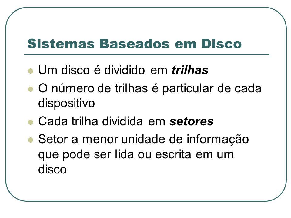 Sistemas Baseados em Disco Um disco é dividido em trilhas O número de trilhas é particular de cada dispositivo Cada trilha dividida em setores Setor a
