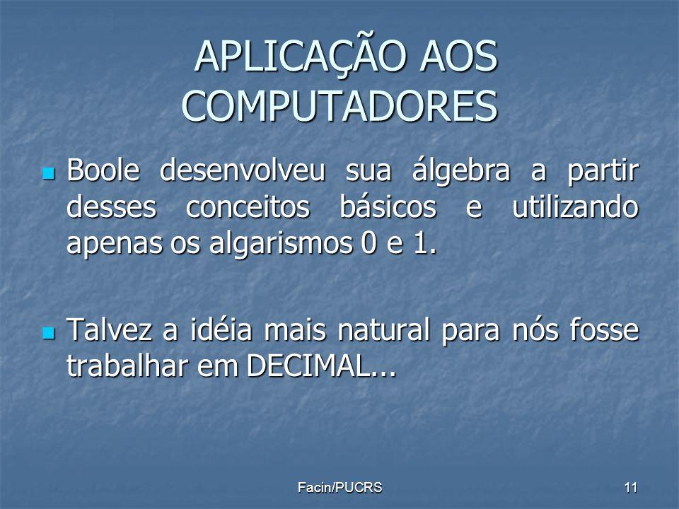 APLICAÇÃO AOS COMPUTADORES APLICAÇÃO AOS COMPUTADORES Boole desenvolveu sua álgebra a partir desses conceitos básicos e utilizando apenas os algarismo