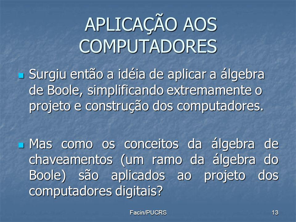 APLICAÇÃO AOS COMPUTADORES APLICAÇÃO AOS COMPUTADORES Surgiu então a idéia de aplicar a álgebra de Boole, simplificando extremamente o projeto e const
