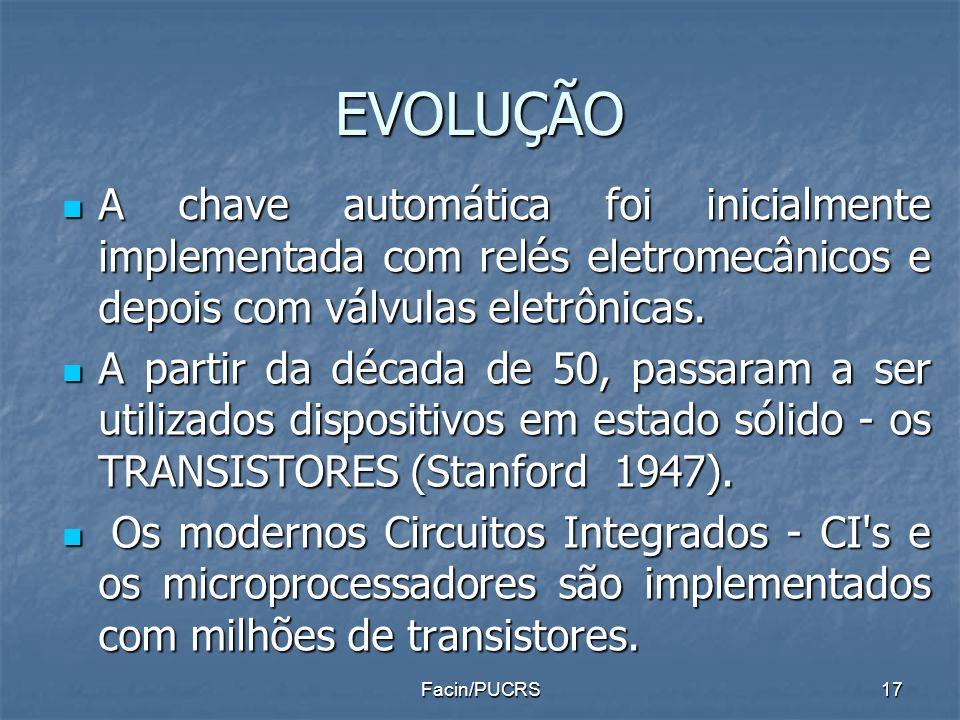 EVOLUÇÃO A chave automática foi inicialmente implementada com relés eletromecânicos e depois com válvulas eletrônicas. A chave automática foi inicialm