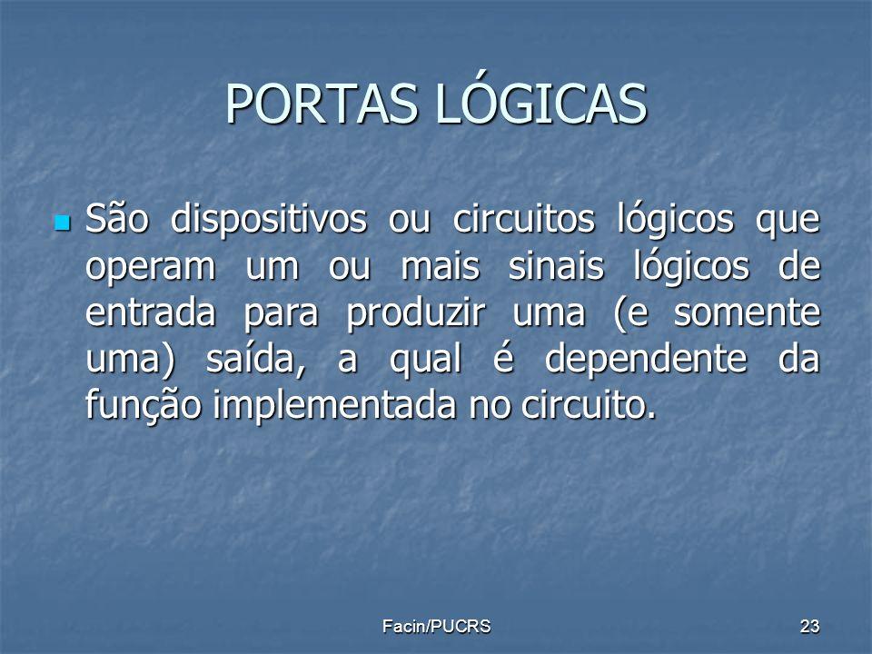 PORTAS LÓGICAS São dispositivos ou circuitos lógicos que operam um ou mais sinais lógicos de entrada para produzir uma (e somente uma) saída, a qual é