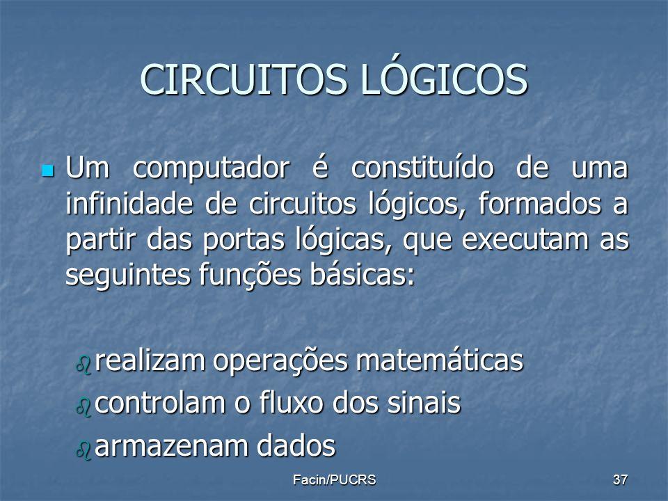 CIRCUITOS LÓGICOS Um computador é constituído de uma infinidade de circuitos lógicos, formados a partir das portas lógicas, que executam as seguintes
