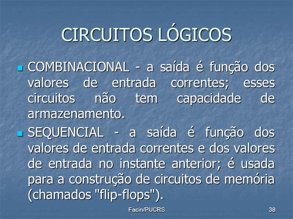 CIRCUITOS LÓGICOS COMBINACIONAL - a saída é função dos valores de entrada correntes; esses circuitos não tem capacidade de armazenamento. COMBINACIONA