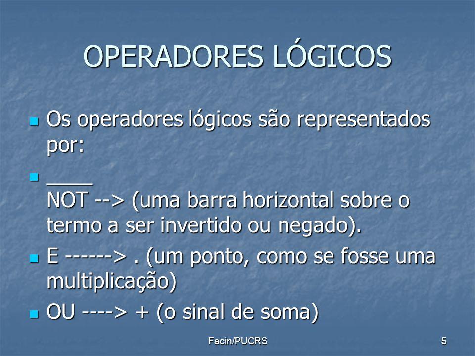 OPERADORES LÓGICOS Os operadores lógicos são representados por: Os operadores lógicos são representados por: ____ NOT --> (uma barra horizontal sobre
