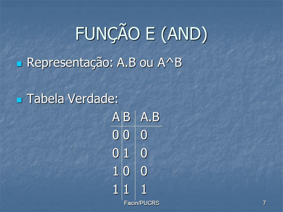 FUNÇÃO E (AND) Representação: A.B ou A^B Representação: A.B ou A^B Tabela Verdade: Tabela Verdade: ABA.B 000 010 100 111 7Facin/PUCRS