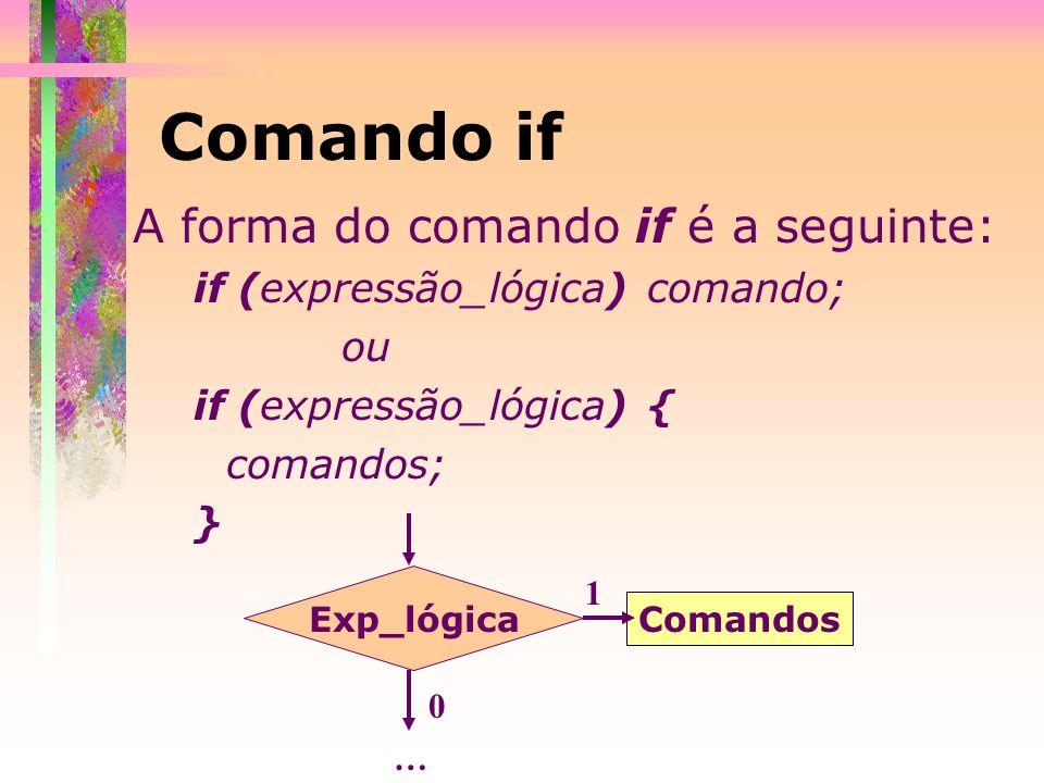 A forma do comando if é a seguinte: if (expressão_lógica) comando; ou if (expressão_lógica) { comandos; } Comando if Exp_lógica Comandos 1 0 …