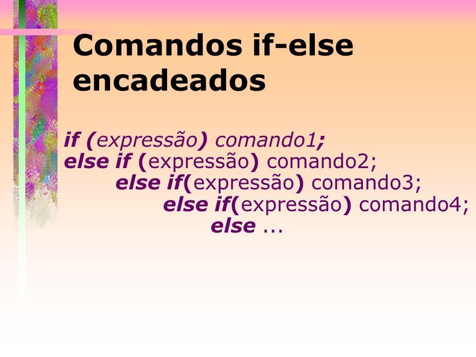 Comandos if-else encadeados if (expressão) comando1; else if (expressão) comando2; else if(expressão) comando3; else if(expressão) comando4; else...