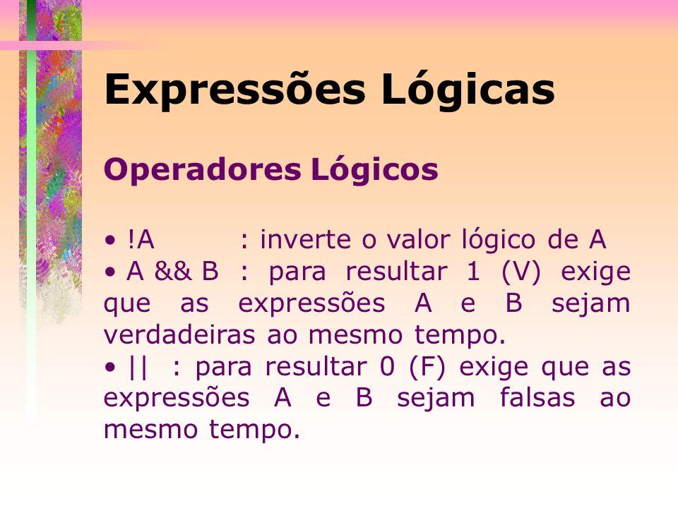 Operadores Lógicos !A : inverte o valor lógico de A A && B: para resultar 1 (V) exige que as expressões A e B sejam verdadeiras ao mesmo tempo. ||: pa