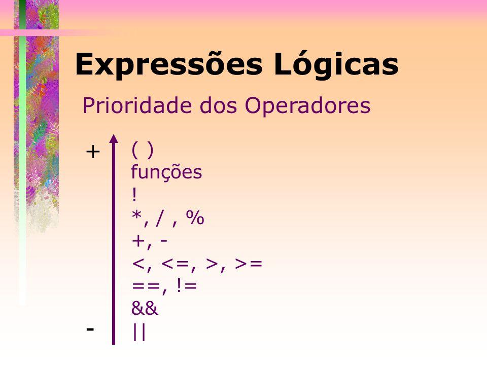 Expressões Lógicas Exemplos: int num=2, val=3; char op = C; a) num<val +1 && num<=pow(val,2)-7 b) op < E || op <=e && op!=c c) num>1 && num<sqrt(64) && !(num!=2) d) op == C || op == c