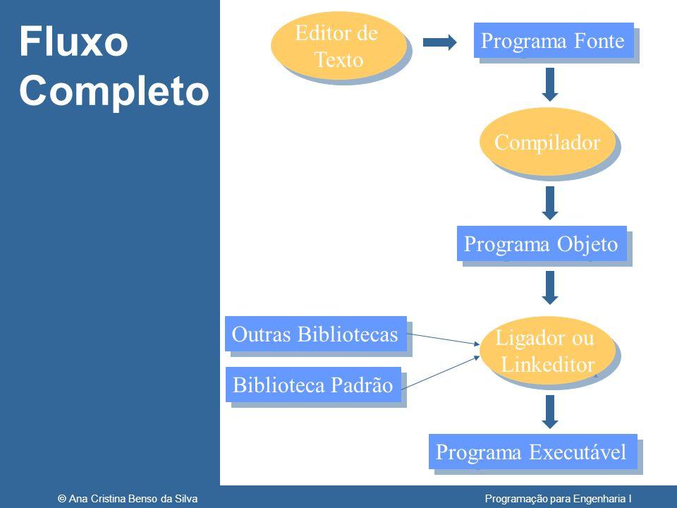 © Ana Cristina Benso da Silva Programação para Engenharia I Fluxo Completo Editor de Texto Editor de Texto Programa Fonte Compilador Programa Objeto L