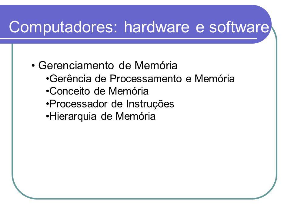 Computadores: hardware e software Gerenciamento de Memória Gerência de Processamento e Memória Conceito de Memória Processador de Instruções Hierarqui