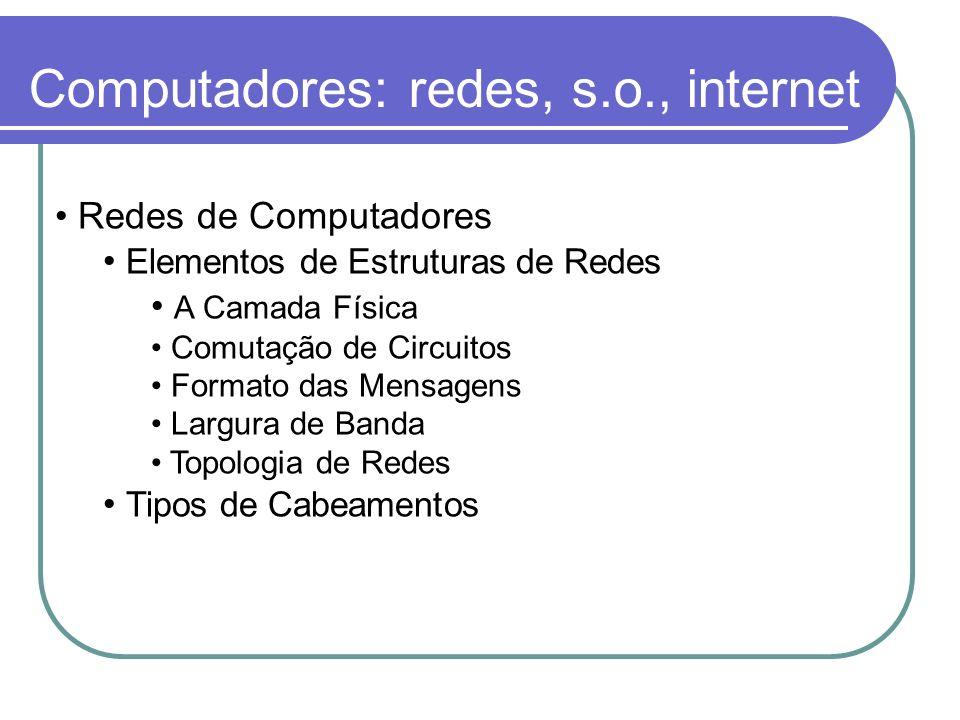 Computadores: redes, s.o., internet Redes de Computadores Elementos de Estruturas de Redes A Camada Física Comutação de Circuitos Formato das Mensagen