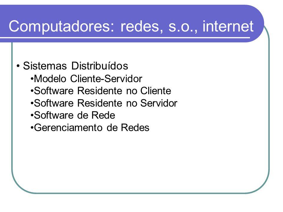 Computadores: redes, s.o., internet Sistemas Distribuídos Modelo Cliente-Servidor Software Residente no Cliente Software Residente no Servidor Softwar