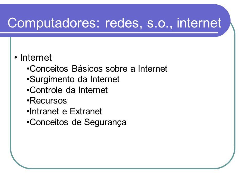 Computadores: redes, s.o., internet Internet Conceitos Básicos sobre a Internet Surgimento da Internet Controle da Internet Recursos Intranet e Extran