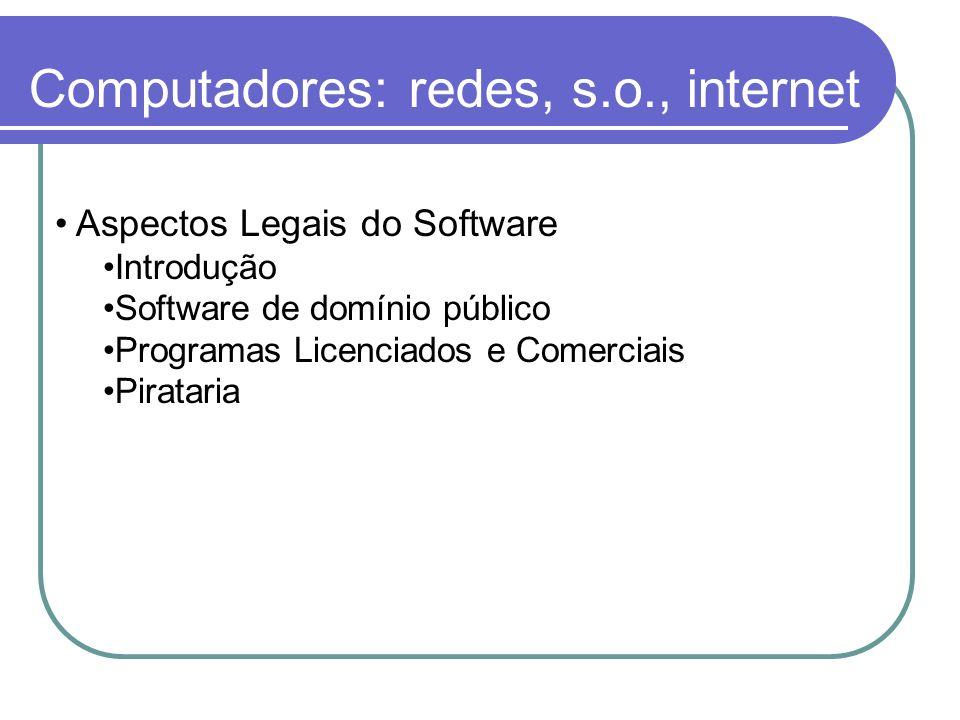 Computadores: redes, s.o., internet Aspectos Legais do Software Introdução Software de domínio público Programas Licenciados e Comerciais Pirataria