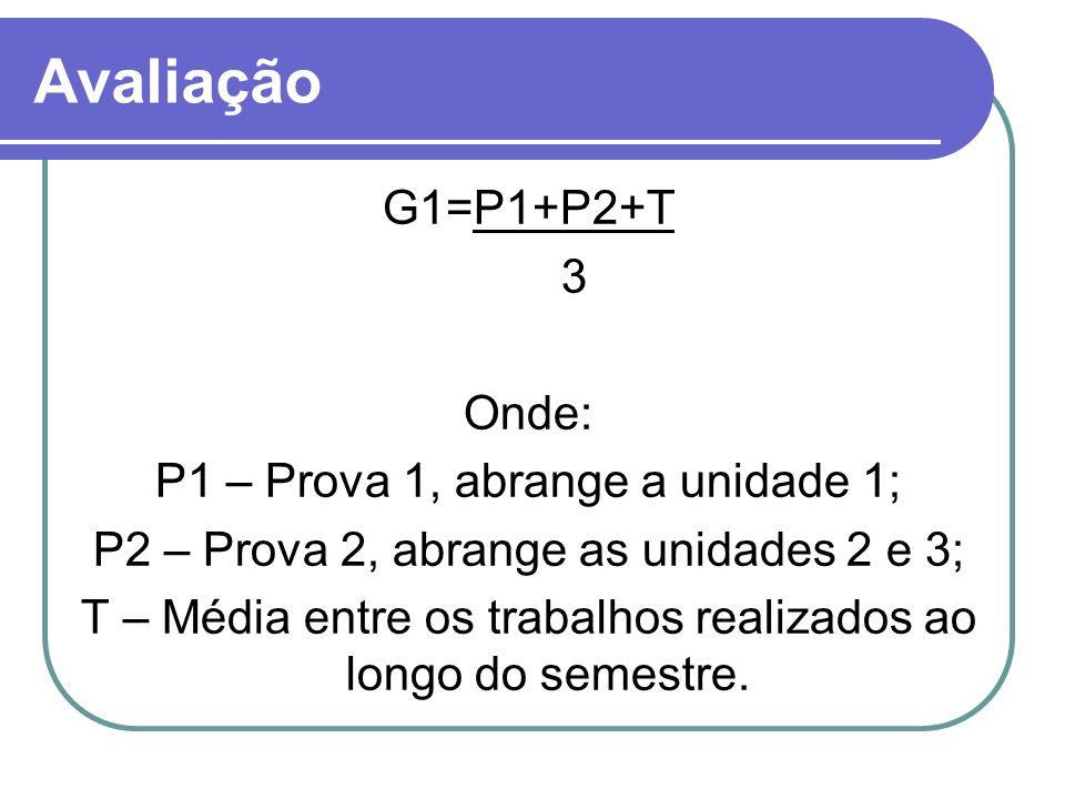 Avaliação G1=P1+P2+T 3 Onde: P1 – Prova 1, abrange a unidade 1; P2 – Prova 2, abrange as unidades 2 e 3; T – Média entre os trabalhos realizados ao lo