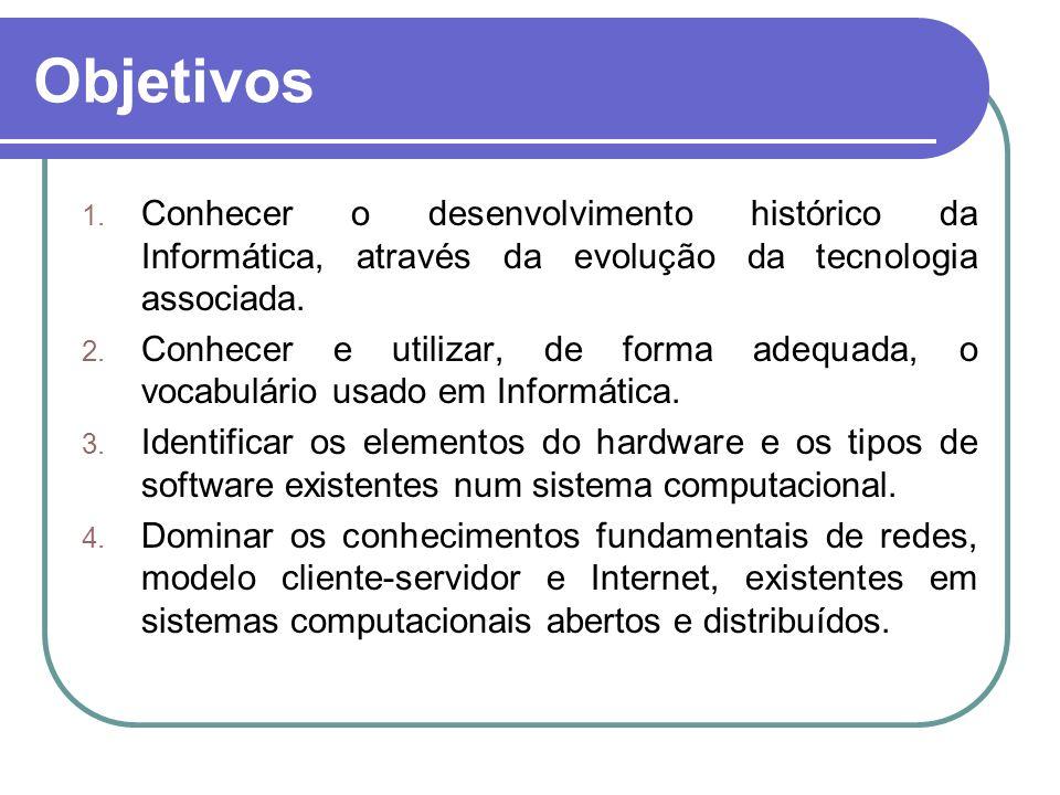 Objetivos 1. Conhecer o desenvolvimento histórico da Informática, através da evolução da tecnologia associada. 2. Conhecer e utilizar, de forma adequa