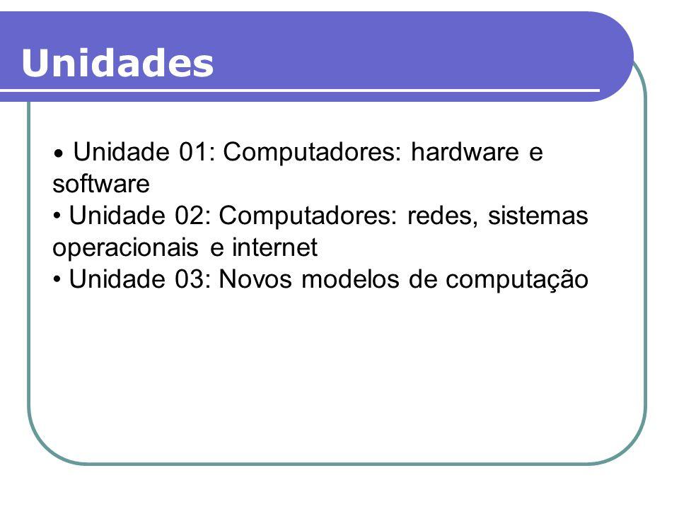 Unidades Unidade 01: Computadores: hardware e software Unidade 02: Computadores: redes, sistemas operacionais e internet Unidade 03: Novos modelos de