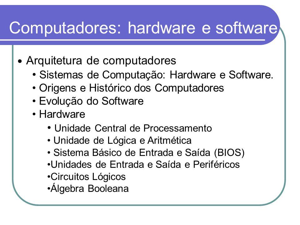 Computadores: hardware e software Arquitetura de computadores Sistemas de Computação: Hardware e Software. Origens e Histórico dos Computadores Evoluç