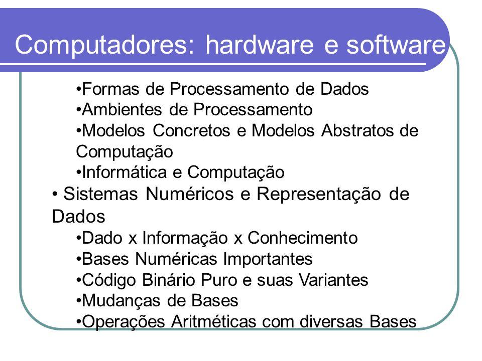Computadores: hardware e software Formas de Processamento de Dados Ambientes de Processamento Modelos Concretos e Modelos Abstratos de Computação Info