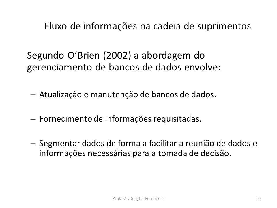Fluxo de informações na cadeia de suprimentos Segundo OBrien (2002) a abordagem do gerenciamento de bancos de dados envolve: – Atualização e manutenção de bancos de dados.